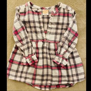 Jumping BEANS pink White Grey Plaid Toddlee Top 2
